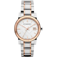 100% Burberry Women's Analog Large Check Two Tone Bracelet  Date Watch BU9105