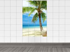 Fliesensticker Fliesenbild Aufkleber für Badezimmer Palme Strand Meer Paradies