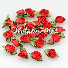 100pcs red Satin Ribbon tulips flower with leaf appliques