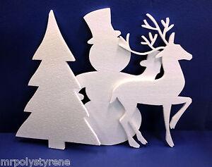 5 OF EACH POLYSTYRENE CHRISTMAS TREE DEER SNOWMAN LARGE 570MM HEIGHT WHITE