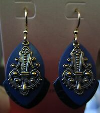 Jody Coyote Earrings JC0390 new gold blue dangle Twilight Collection QN337-01