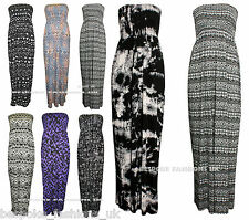 New Women's Tie Dye & Aztec Print Shirring Bandeau Ladies Maxi Dress Size 8-22