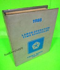 1988 Chrysler Dodge Labor Guide Manual FWD Daytona LeBaron Ram Van New Yorker