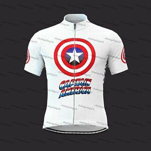 New Summer Men Cycling Jersey Captain America Logo Shield Cycling wear