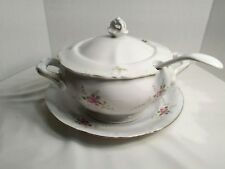 "RARE CHODZIEZ-POLAND ROSE PAT #054274 4-PCE ""SOUP TUREEN"" W/LADDLE & UNDERPLATE"