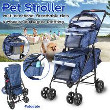4 Wheel Double Deck Promenade Foldable Pet Dog Cat Stroller Detachable