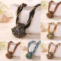 Bohemian Ethnic Women Vintage Wood Pendant Handmade Beaded Necklace Boho Jewelry