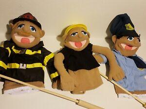 Melissa & Doug Puppet Lot of 3  Police Officer Firefighter construction (H4)