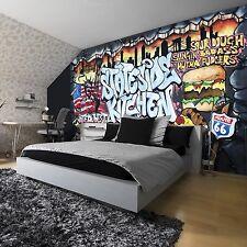 TAPETEN FOTOTAPETE WANDBILD FOTO GRAFFITI FAST FOOD PIZZA ROUTE 66 BAR 2154 P4