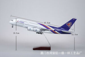 1:160 A380 Thai Airforce Passanger Plane LED Light Airplane Resin Aircraft Model