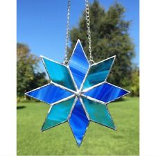 Fatto A MANO VETRO COLORATO STAR Suncatcher tecnica Tiffany glass vetro blu