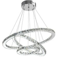 Modern LED Crystal Ring Chandeliers - Cool White