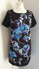 M&S PER UNA Black Blue Floral Rose Shift Dress Formal Work Office Occasion 14