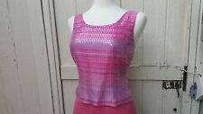 VTG 60s Mod Sequin Top Vintage 70s Boho Pink Purple Striped Evening Blouse S 4