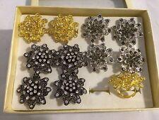 12 rings wholesale jewelry lot Rhinestone Multi-Color Flower fashion rings