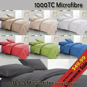 New 1000TC Microfibre Queen/King Sheet Set,Quilt Cover,Fitted,Flat,Pillowcases