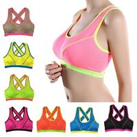 Womens Yoga Sports Running Gym Bra Crop Top Vest Stretch Bras Shapewear Padded
