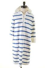 RALPH LAUREN Womens Hoodie Jumper Dress Size 16 Large Blue White Stripes Cotton