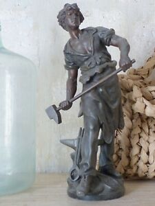 "24""Tall OMG Antique sculpture Spelter signed MOREAU Bronze patina 1880"