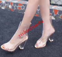 Fashion Women's Clear Heel Transparent Peep Toe Ankle Boots Bootie Sandals Shoes