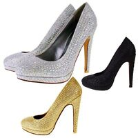 Womens Sparkly Diamante High Stiletto Heel Party Prom Bridal Wedding Court Shoes