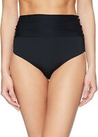 Trina Turk Women's 242676 High Waist Roll Up Bikini Bottom Swimwear Black Size 6