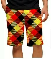 Loudmouth Mens Cheezburger Golf Shorts Size 42 Black Orange Yellow Check NWT