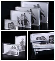 Freestanding Small Clear Acrylic Magnetic Picture Photo Frame Business Card Hold
