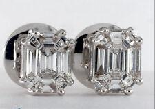 Certified 1.00 TCW G /VVS 18K White Gold Emerald Cut Diamond Earring Studs