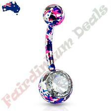 316L Surgical Steel Belly Ring with Pink & Purple Splatter Paint & Clear CZ Gem