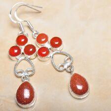 """Handmade Sun Sitara Sparkling Jasper 925 Sterling Silver 2.75"""" Earrings #E00095"""