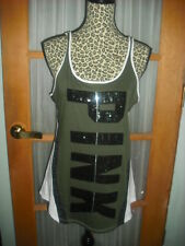 VICTORIA'S SECRET PINK M SEQUIN BLING GRAPHIC TANK TOP  SOLD OUT! WOW NWT