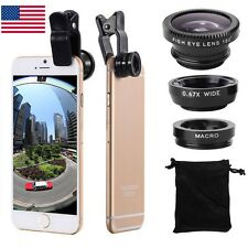 3in1 Clip Camera Lens Kit Fisheye +Wide Angle +Macro for iPhone Android Phone