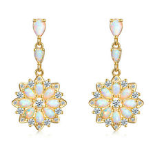 White Fire Opal CZ Yellow Gold Filled for Women Jewelry Stud Earrings OH4355