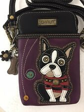 Chala Boston Terrier Cell Phone Purple Crossbody Bag Small Convertible Dog Purse