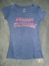 NEW xs 6 8 ARMANI EXCHANGE blue grey top blouse t shirt fitted diamonte designer
