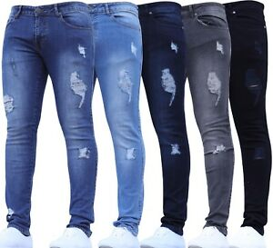 MENS JEANS RIPPED SKINNY RIPS BRANDED FRAYED  STRETCH WAIST SIZES
