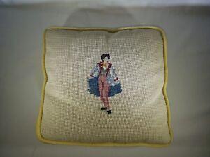 "Vintage Finished Needlepoint Pillow Matador Figure (?)  10"" X 10"" X 1 1/2"""