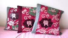 SET OF 3 HANDMADE RED/GREEN CUSHION COVER WITH VINTAGE JAPANESE OBI PANELED NEW