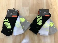 Lot 2 - 3 Pair Nike Kids Crew Socks Shoe Size 3Y-5Y Black White Gray Cotton NWT