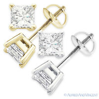 1.50ct Square Princess Cut Moissanite 14k Gold Stud Earrings Charles and Colvard