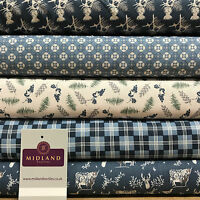 "Blue Highland Scottish Tartan 100% Cotton craft & quilting fabric 45"" M679"