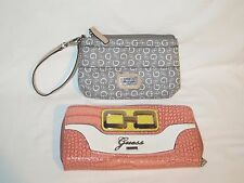 Lot of 2 GUESS Los Angeles EMBOSSED ZIP AROUND CLUTCH WRISTLET WALLETS