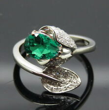 New Design Solid 18K 2 Tone Gold Natural Green Emerald Engagement Diamonds Ring