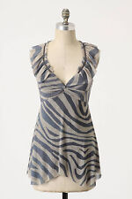 Anthropologie Blue Zebra Stripe Mesh V-Neck Blouse Top By Weston Wear, Size S