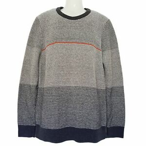 SABA Grey Wool Long Sleeve Pullover Men's Knitted Sweater Top Crew Neck Jumper