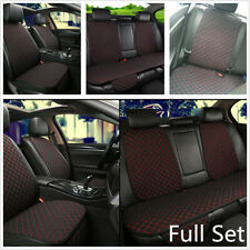 1 Set Flax Car Seat Cover Protector Front Rear Back Cushion Pad Mat w/ Backrest