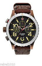 Nixon THE 48-20 CHRONO LEATHER Antique Copper/Brown Men's Watch A363 1625