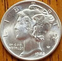 1942 Mercury Dime Uncirculated **Check it Out** #AA179-8