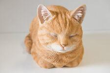 Garden Pet Resin Animal Ornament Gift Large Ginger Cat Kitten Laying Sleeping